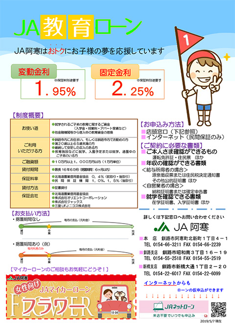 JA教育ローンキャンペーンチラシ