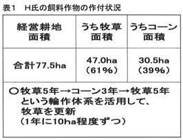 表1 H氏の飼料作物